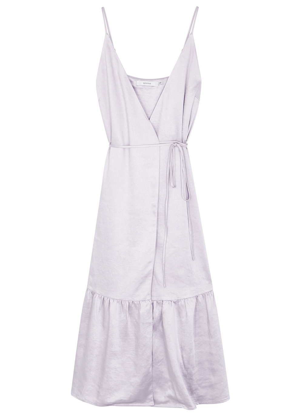 Fabi lilac satin midi wrap dress - Gestuz