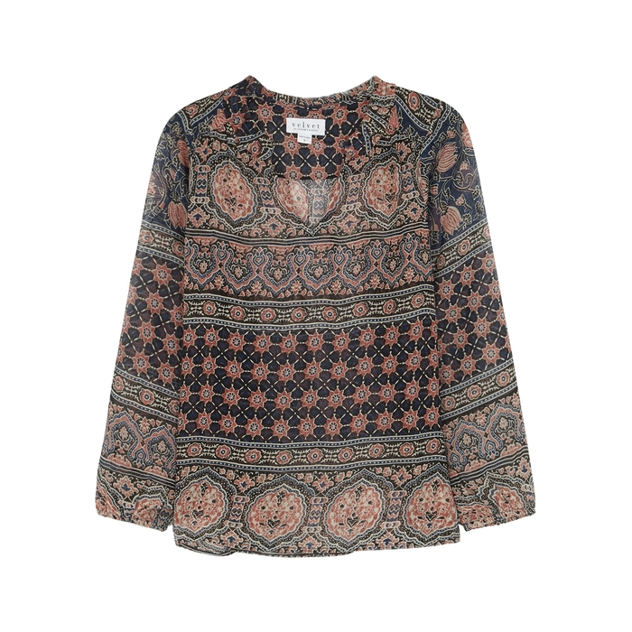 Velvet By Graham & Spencer Tops VELVET BY GRAHAM & SPENCER SHANA PRINTED CHIFFON BLOUSE