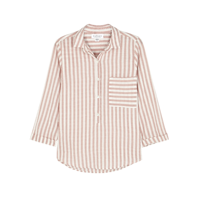 Velvet By Graham & Spencer T-shirts VELVET BY GRAHAM & SPENCER TAMMY STRIPED COTTON-BLEND SHIRT