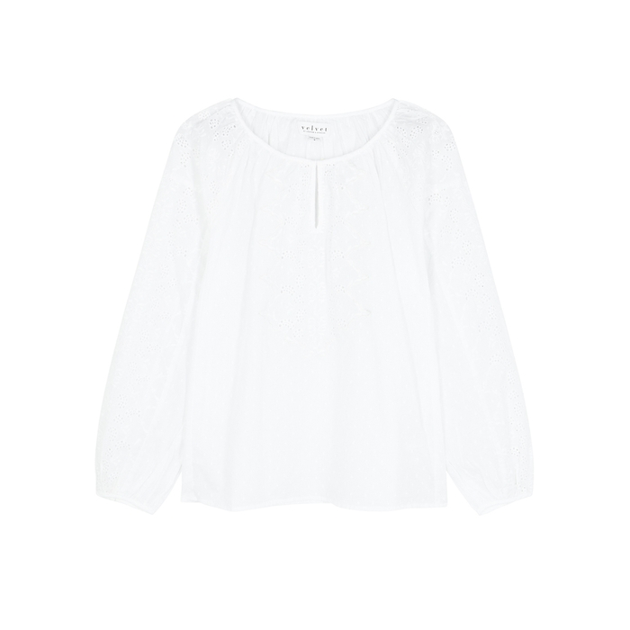 Velvet By Graham & Spencer Tops VELVET BY GRAHAM & SPENCER VICTORIA BRODERIE ANGLAISE COTTON BLOUSE