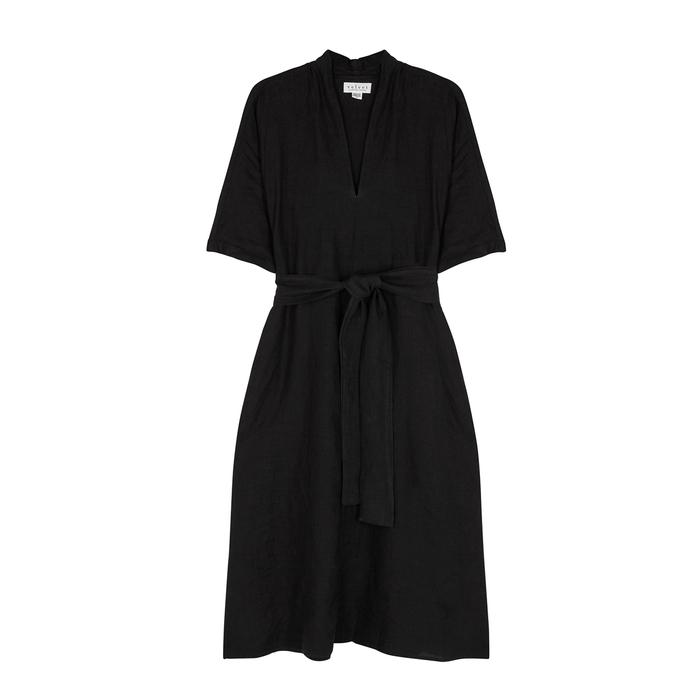 Velvet By Graham & Spencer Dresses VELVET BY GRAHAM & SPENCER WINLEY BLACK LINEN DRESS