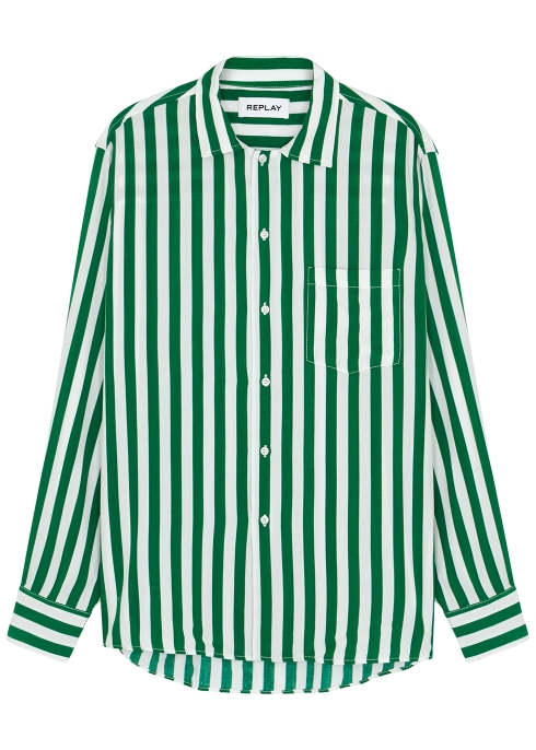 c2a54f1e6a Replay Green striped shirt - Harvey Nichols