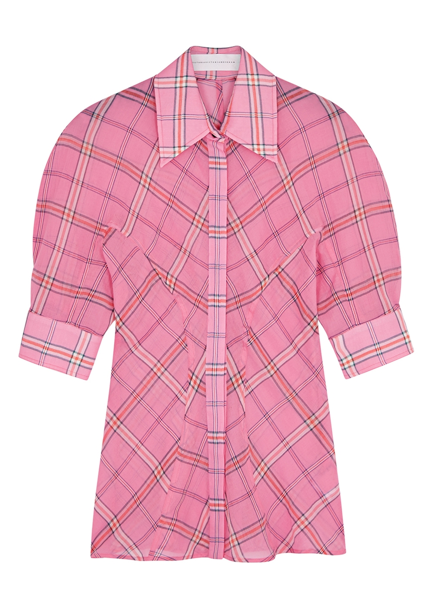 4022ae2a3fe65 Pink checked cotton-blend shirt ...