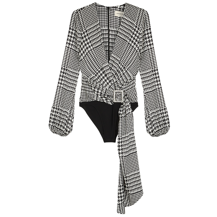 Alexandre Vauthier Suits MONOCHROME PRINTED STRETCH-SILK BODYSUIT