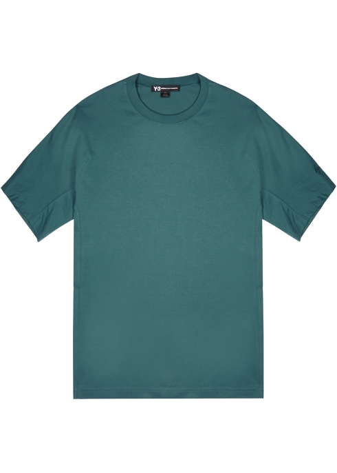 Y-3 Teal cotton T-shirt - Harvey Nichols 36f8bad0ea61a