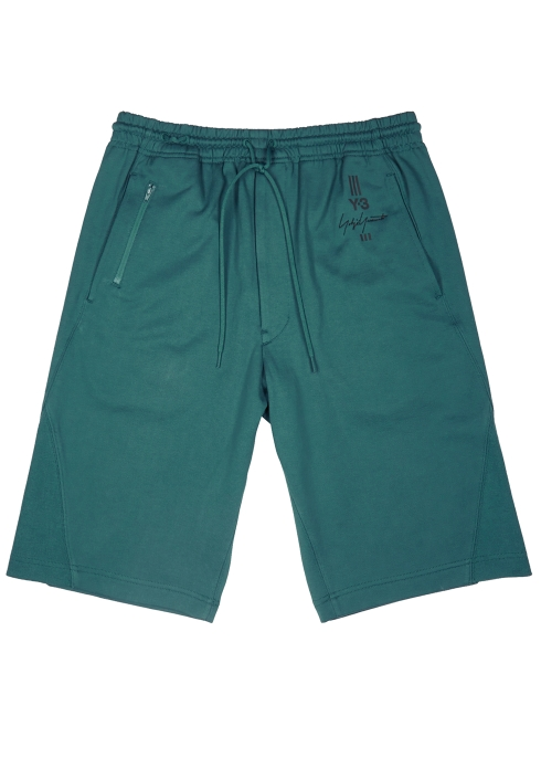 Y-3 Teal cotton shorts - Harvey Nichols d323bcb9869ae