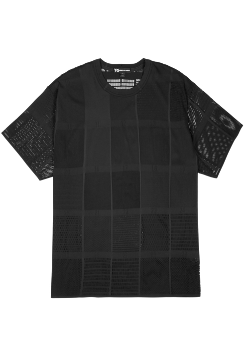Y-3 Black patchwork mesh top - Harvey Nichols c89de01b6d377