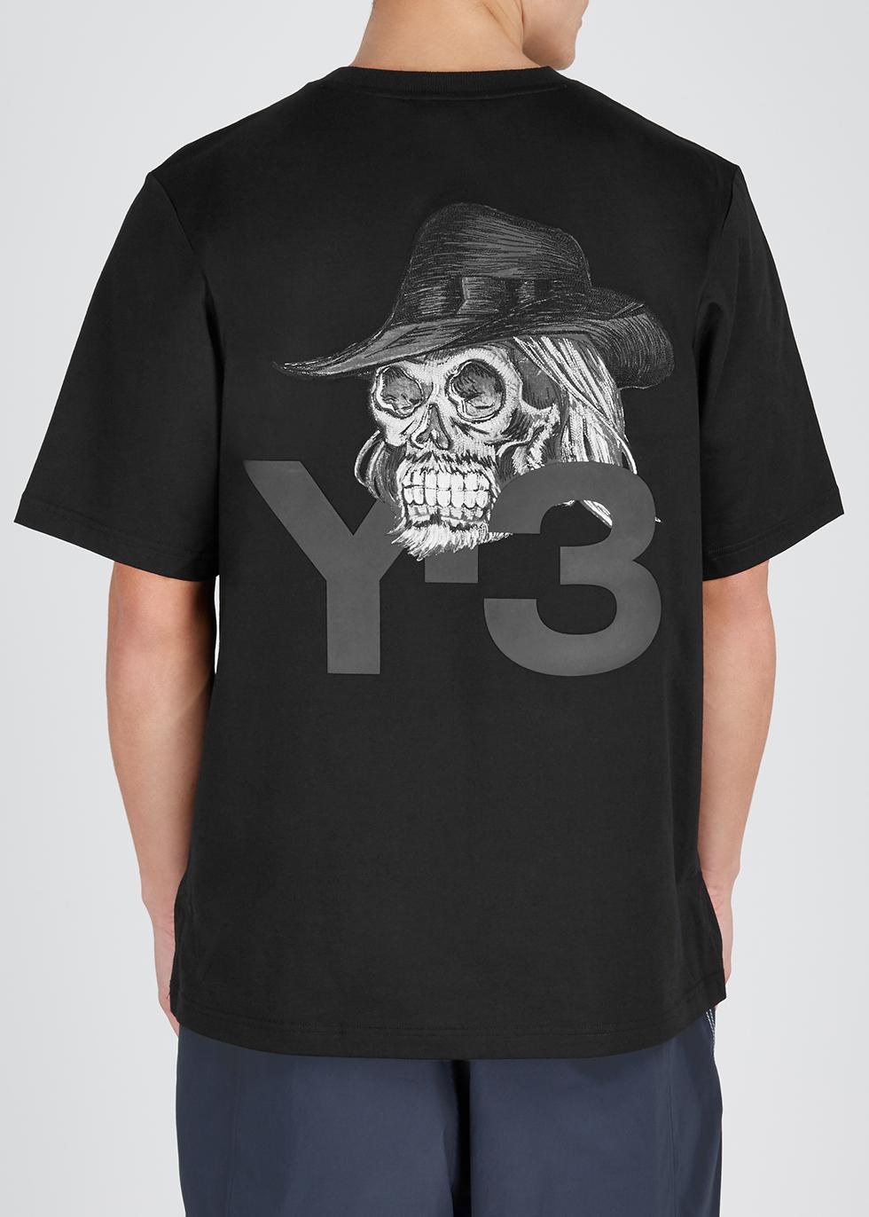 Yohji black printed cotton T-shirt - Y-3
