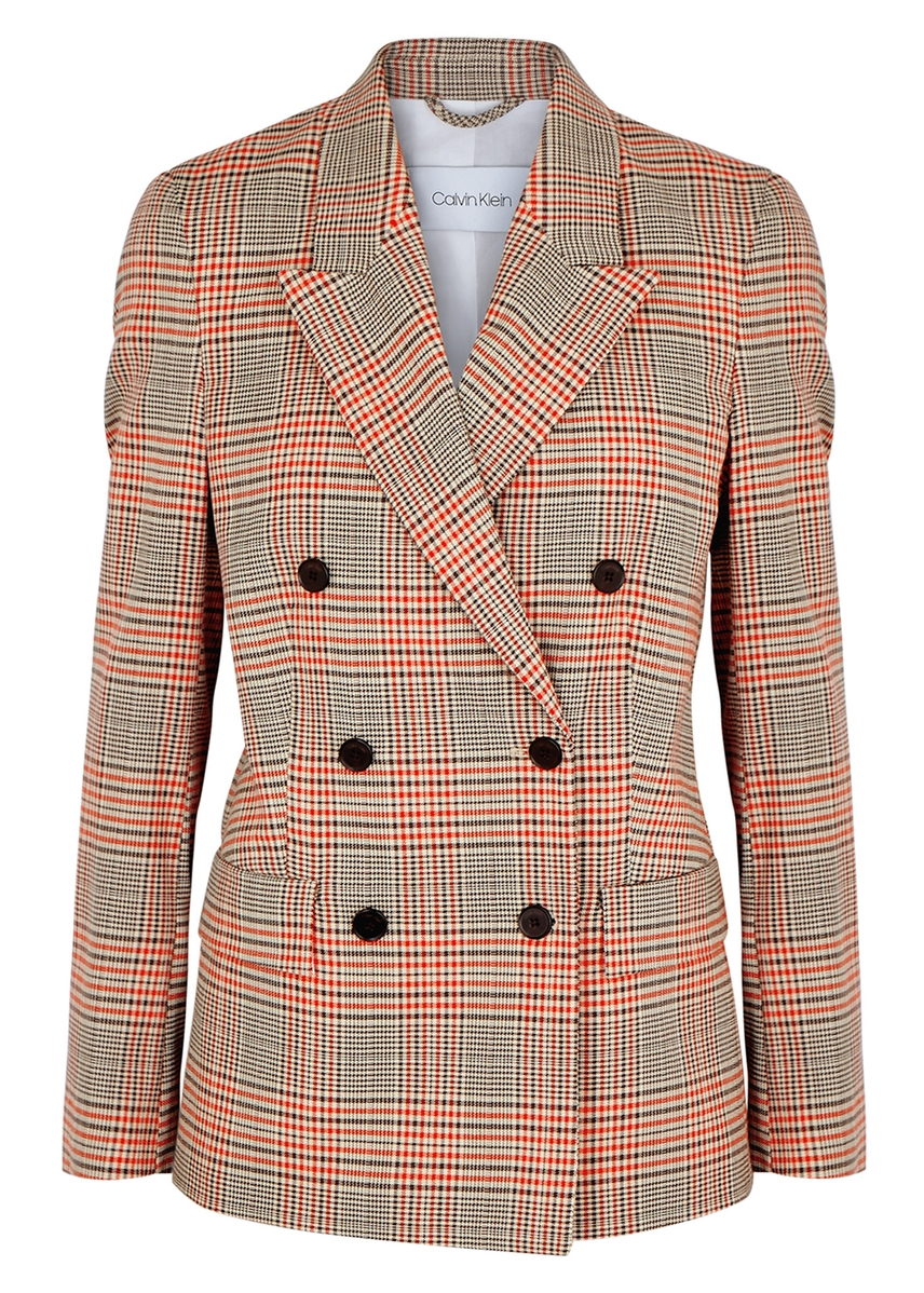 0984d5c4e32 Checked double-breasted wool-blend blazer ...