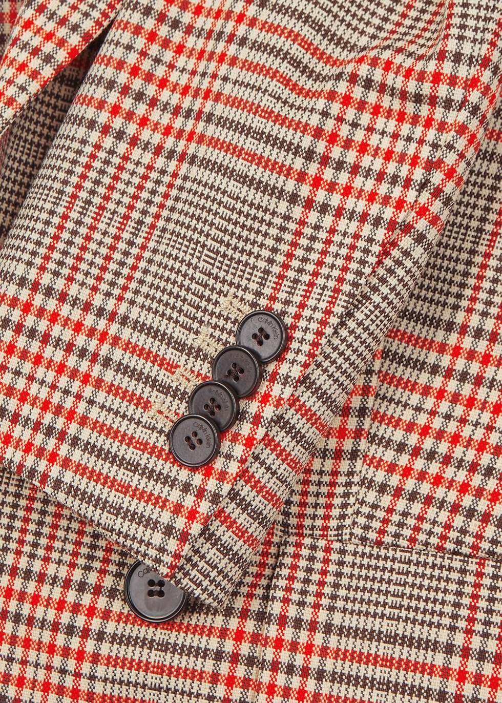 Checked double-breasted wool-blend blazer - Calvin Klein