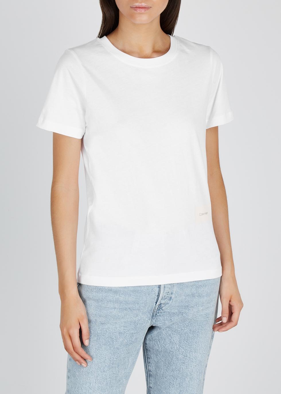 White logo-print cotton T-shirt - Calvin Klein