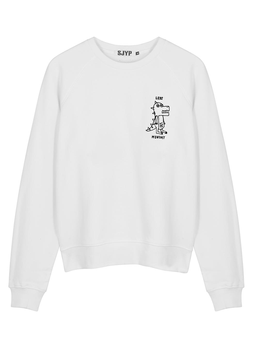 Off-white embroidered cotton sweatshirt - SJYP