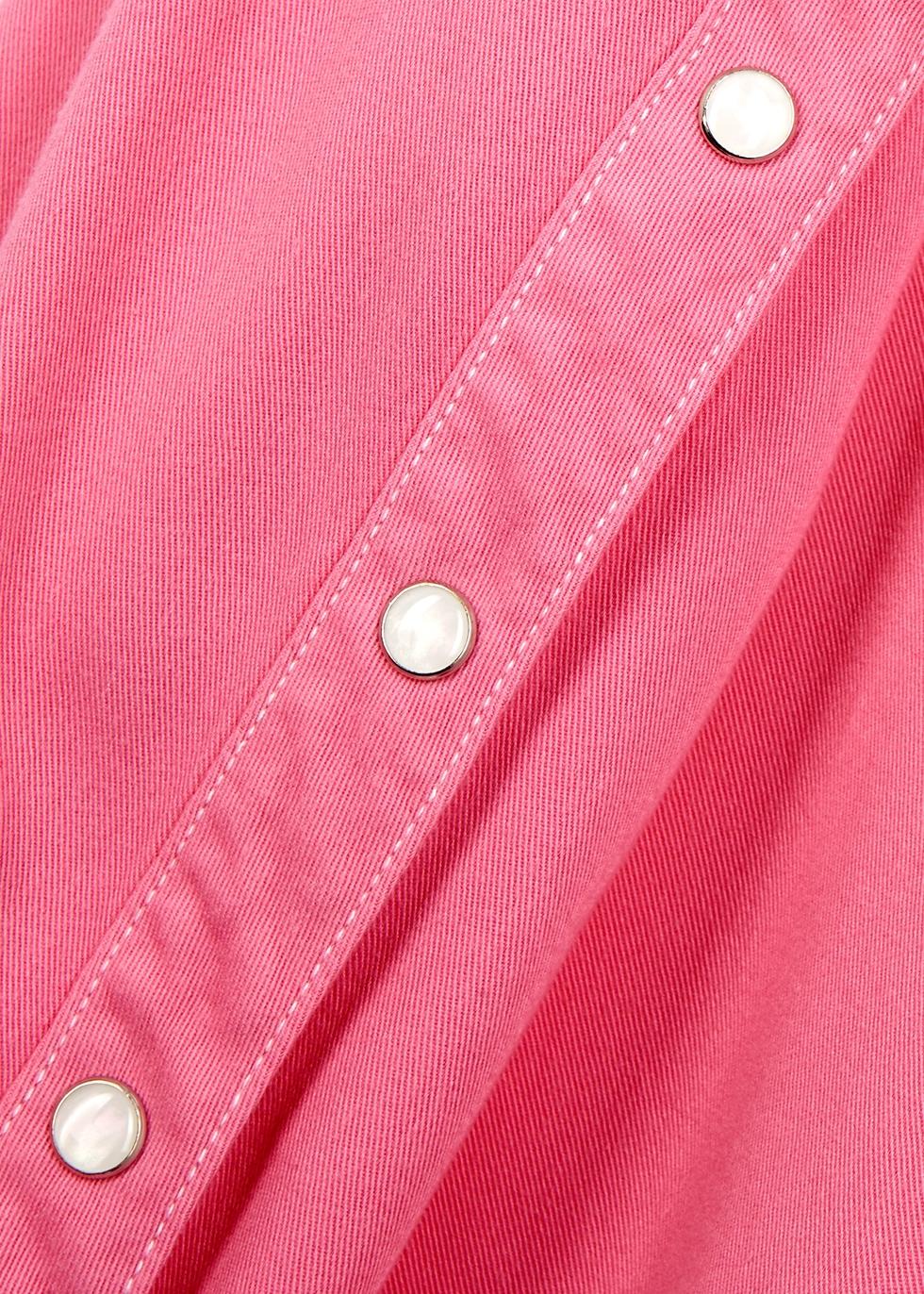 Pink rayon-blend twill shirt - SJYP