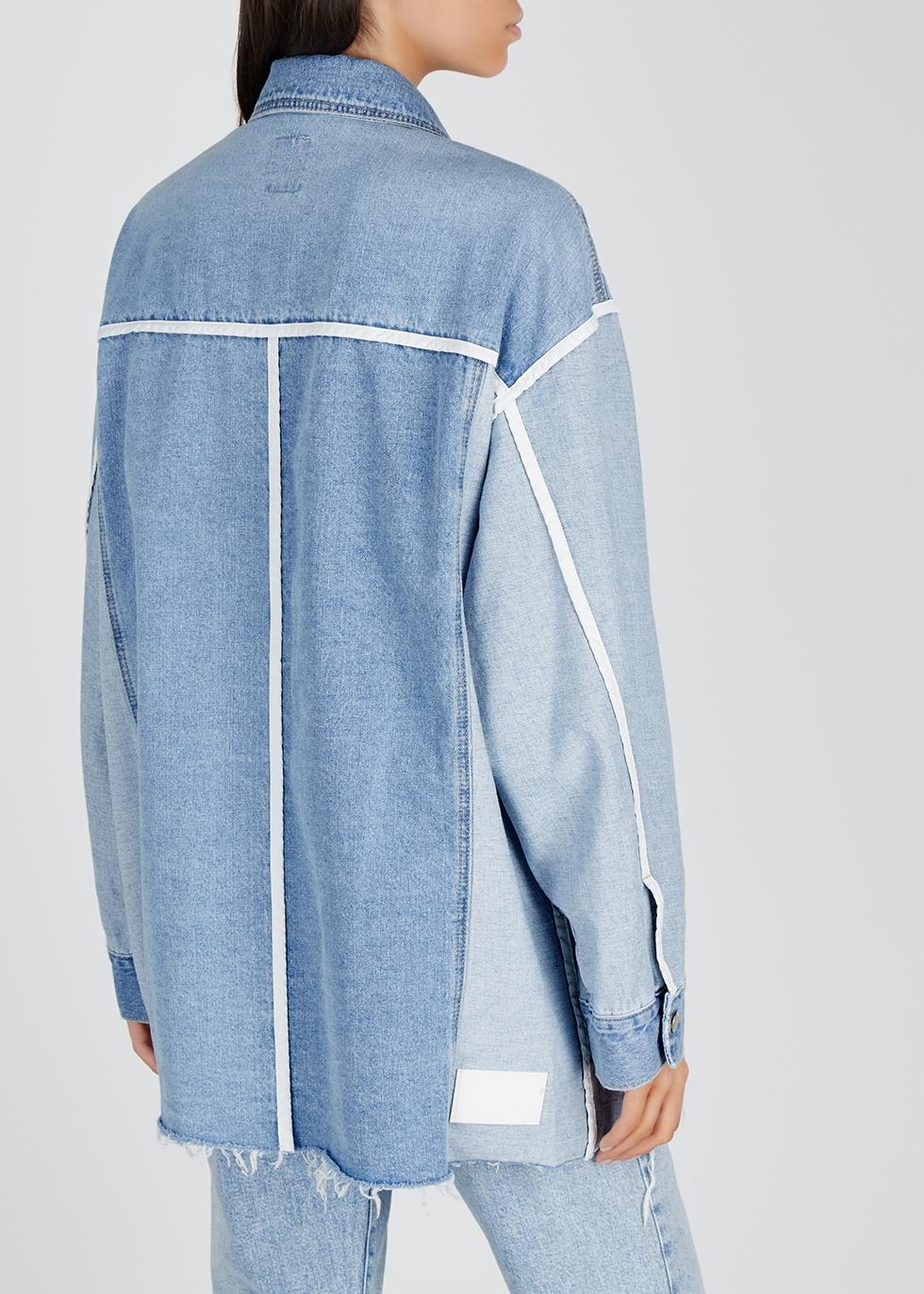 Two-tone panelled denim shirt - SJYP
