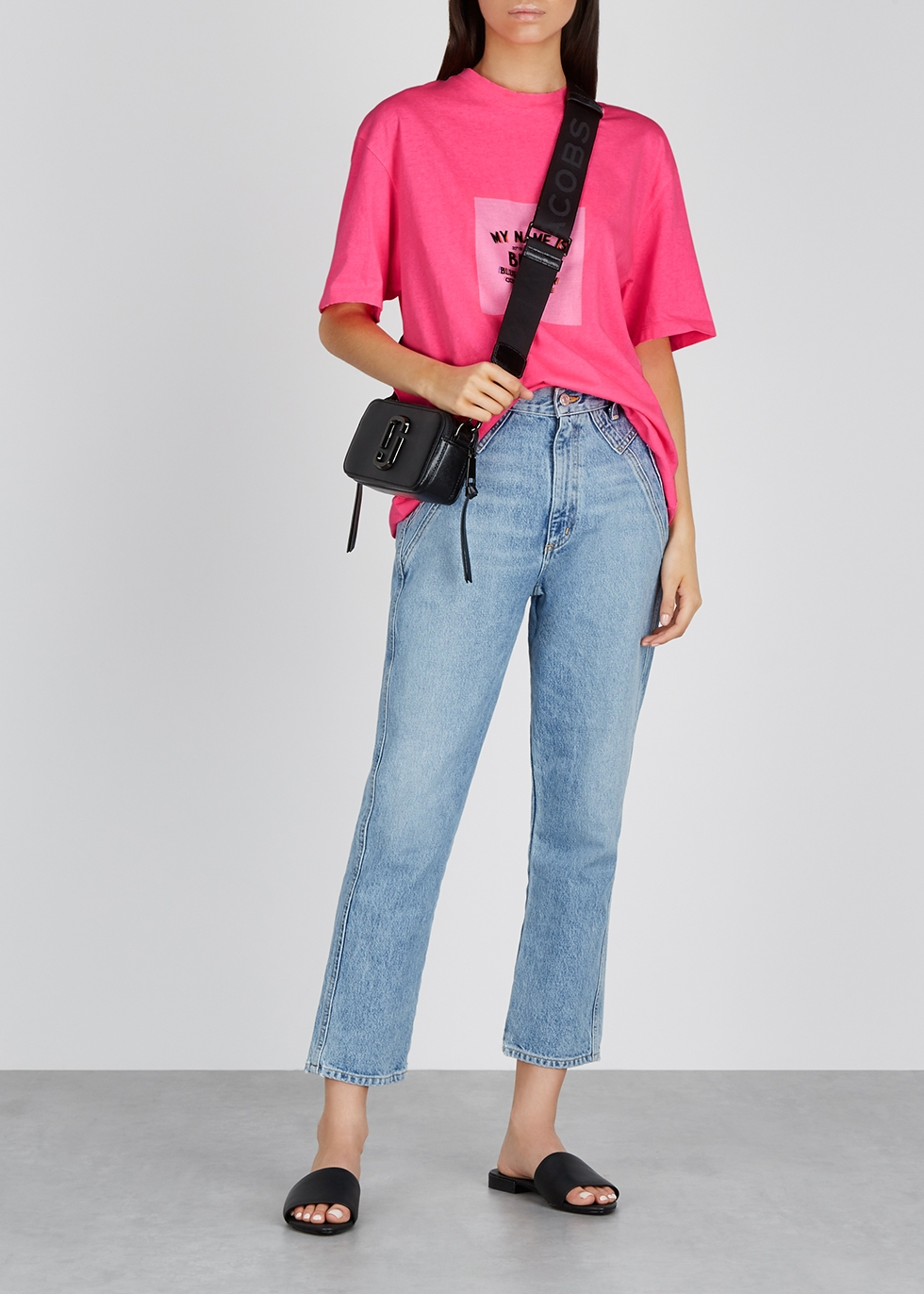 Neon pink printed cotton T-shirt - SJYP