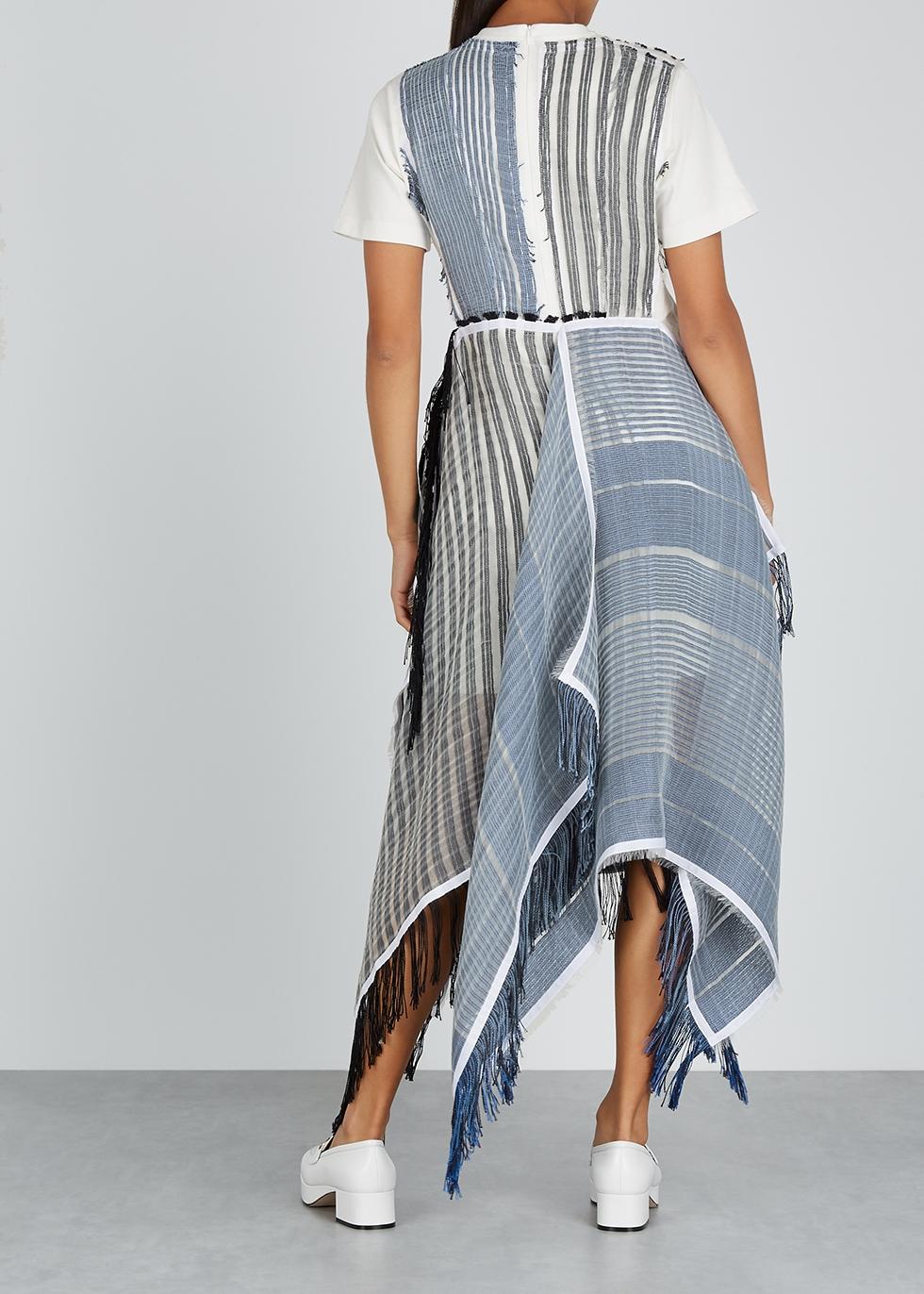Striped cotton and organza midi dress - JW Anderson