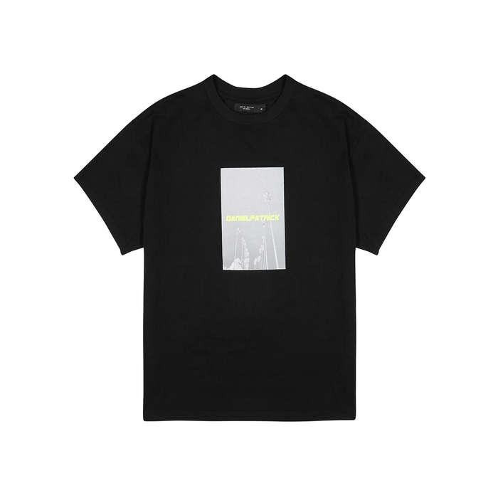 Daniel Patrick T-shirts NEON PALM BLACK COTTON T-SHIRT