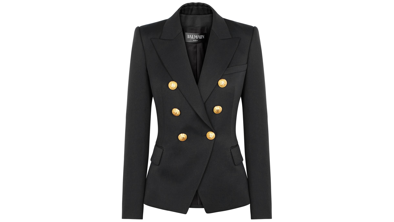e2b756ce Balmain Black double-breasted wool blazer - Harvey Nichols