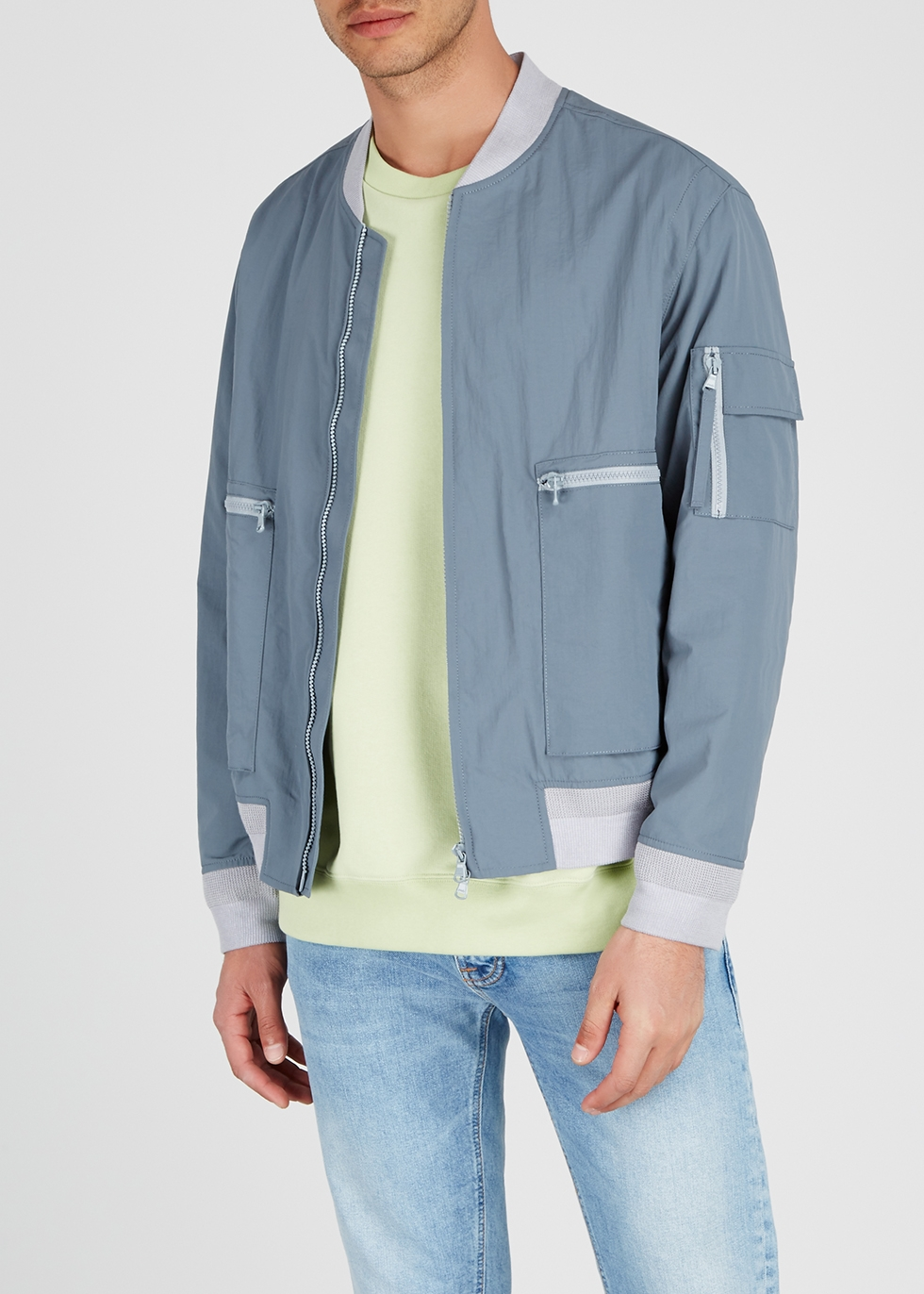 Steel blue shell bomber jacket - Solid Homme