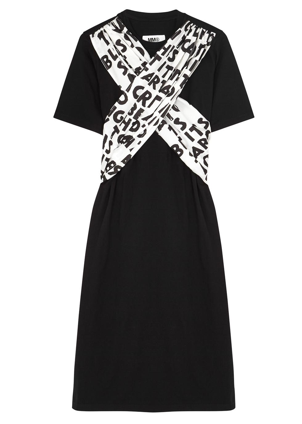 Black printed cotton T-shirt dress - MM6 by Maison Margiela