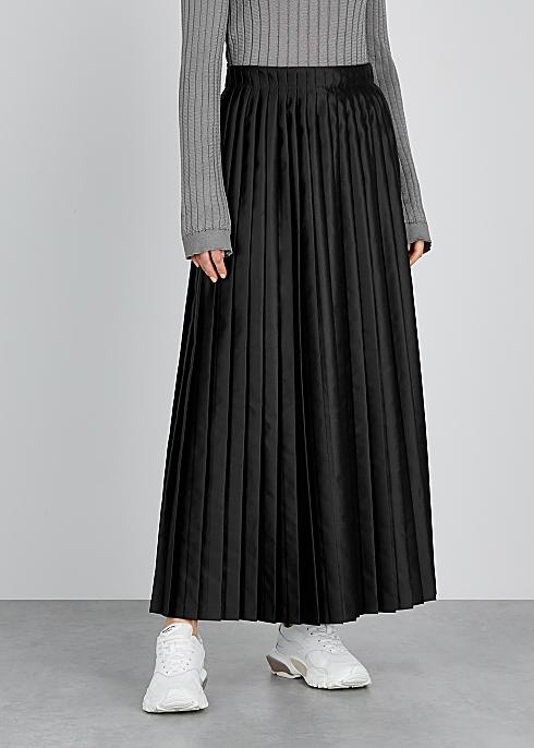 6b52c888842a38 MM6 by Maison Margiela Black pleated satin wrap skirt - Harvey Nichols