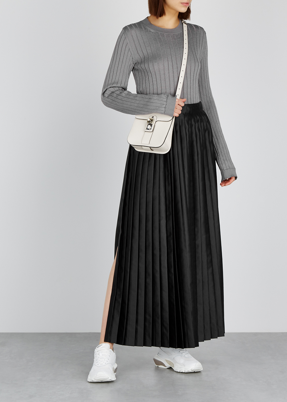 Black pleated satin wrap skirt - MM6 by Maison Margiela