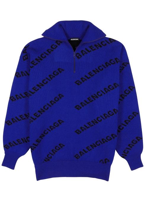 fd72449c65c62 Balenciaga Blue logo-intarsia wool-blend jumper - Harvey Nichols