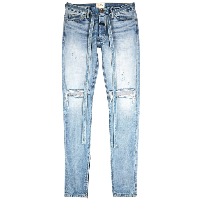 Fear Of God Jeans FEAR OF GOD BLUE DISTRESSED SLIM-LEG JEANS