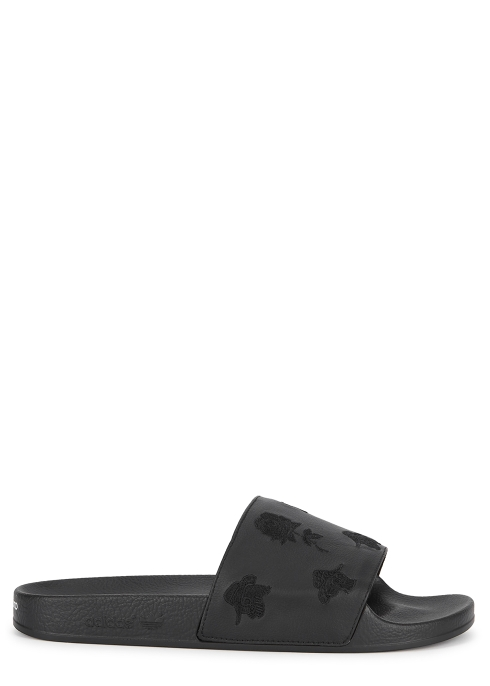 Y-3 Adilette embroidered leather sliders - Harvey Nichols 4db65c510c263