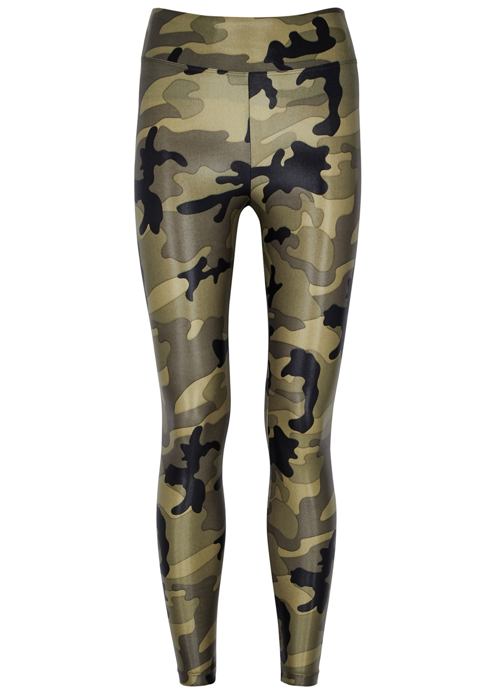 Lustrous cropped camouflage leggings