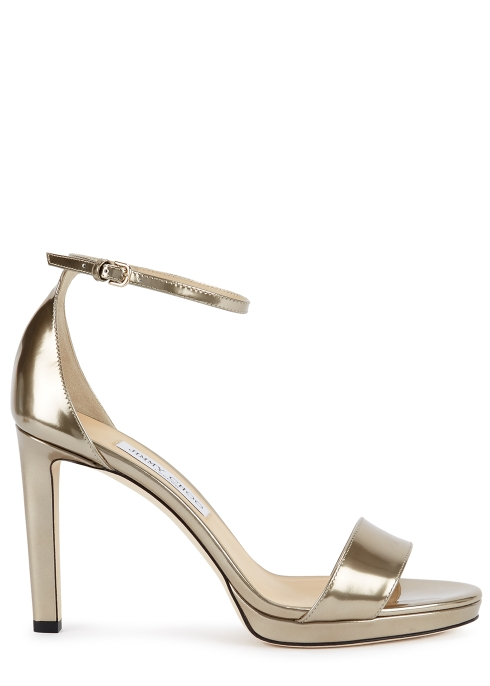 04bcb7343d2 Jimmy Choo Misty 100 gold leather sandals - Harvey Nichols