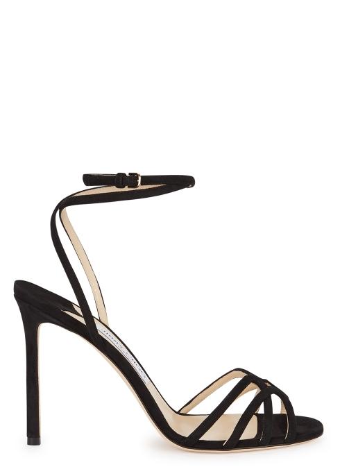 70385f529ed Jimmy Choo Mimi 100 black suede sandals - Harvey Nichols