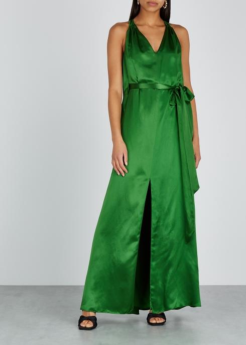 dd9eafefea9 Temperley Darling emerald green satin maxi dress - Harvey Nichols