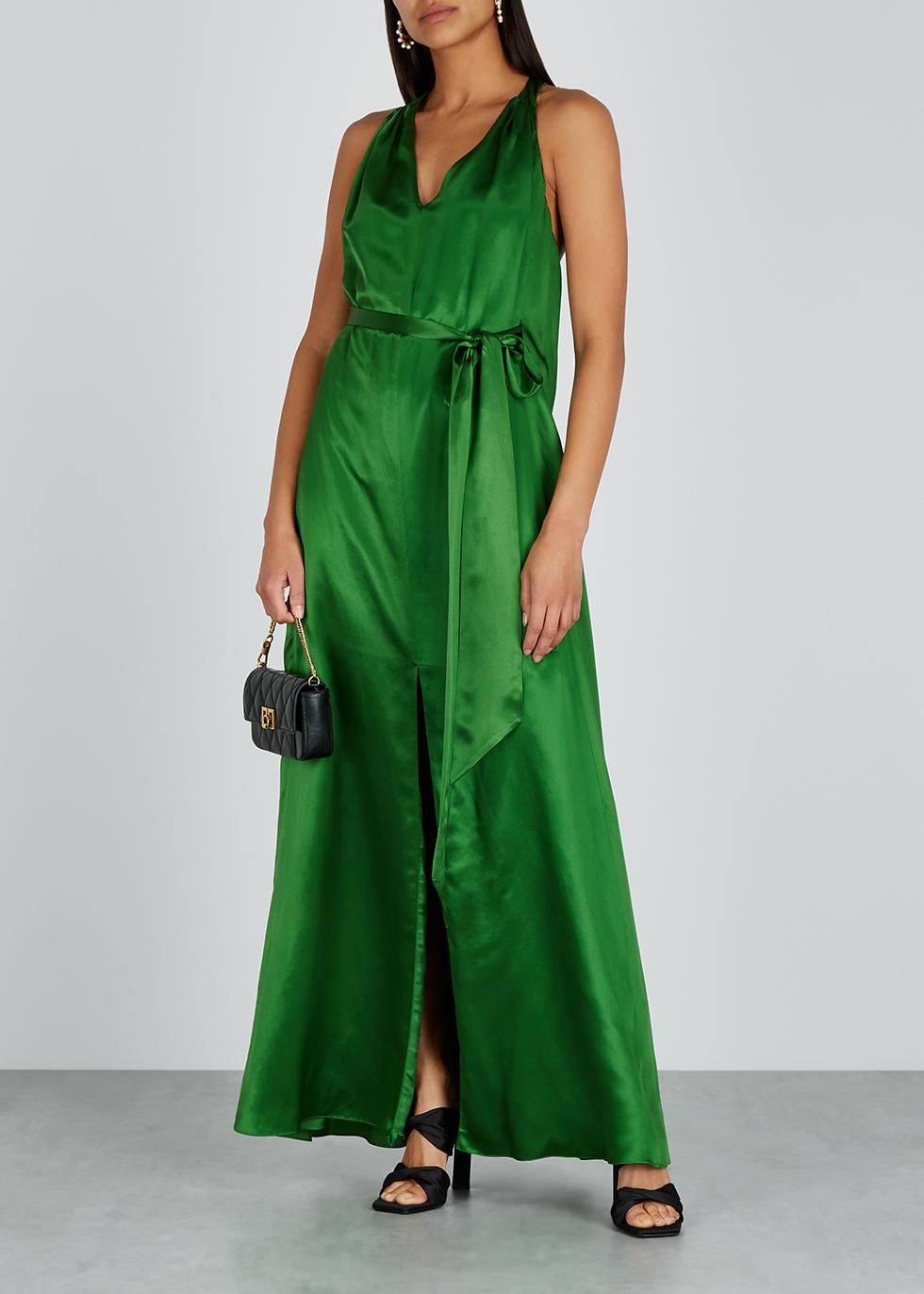 Darling emerald green satin maxi dress - Temperley