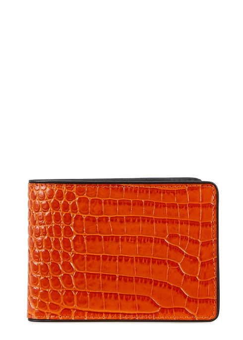 b39c762f23 Dries Van Noten Orange crocodile-effect leather wallet - Harvey Nichols