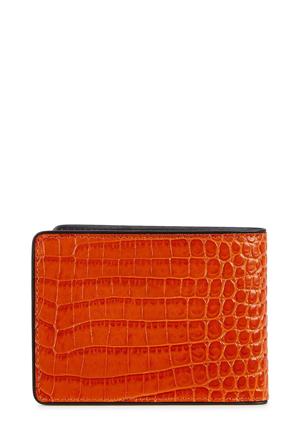 Orange crocodile-effect leather wallet - Dries Van Noten