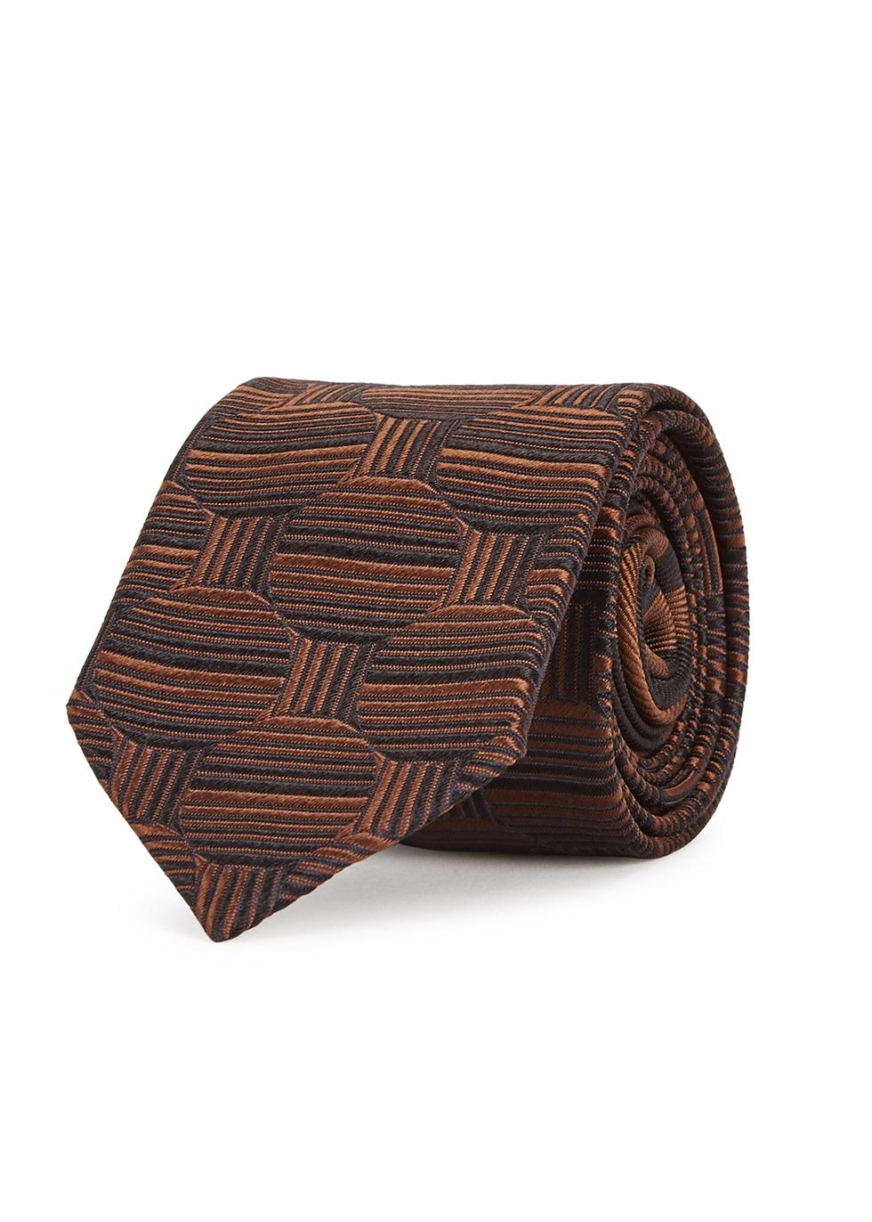 Sienna geometric silk tie - Dries Van Noten