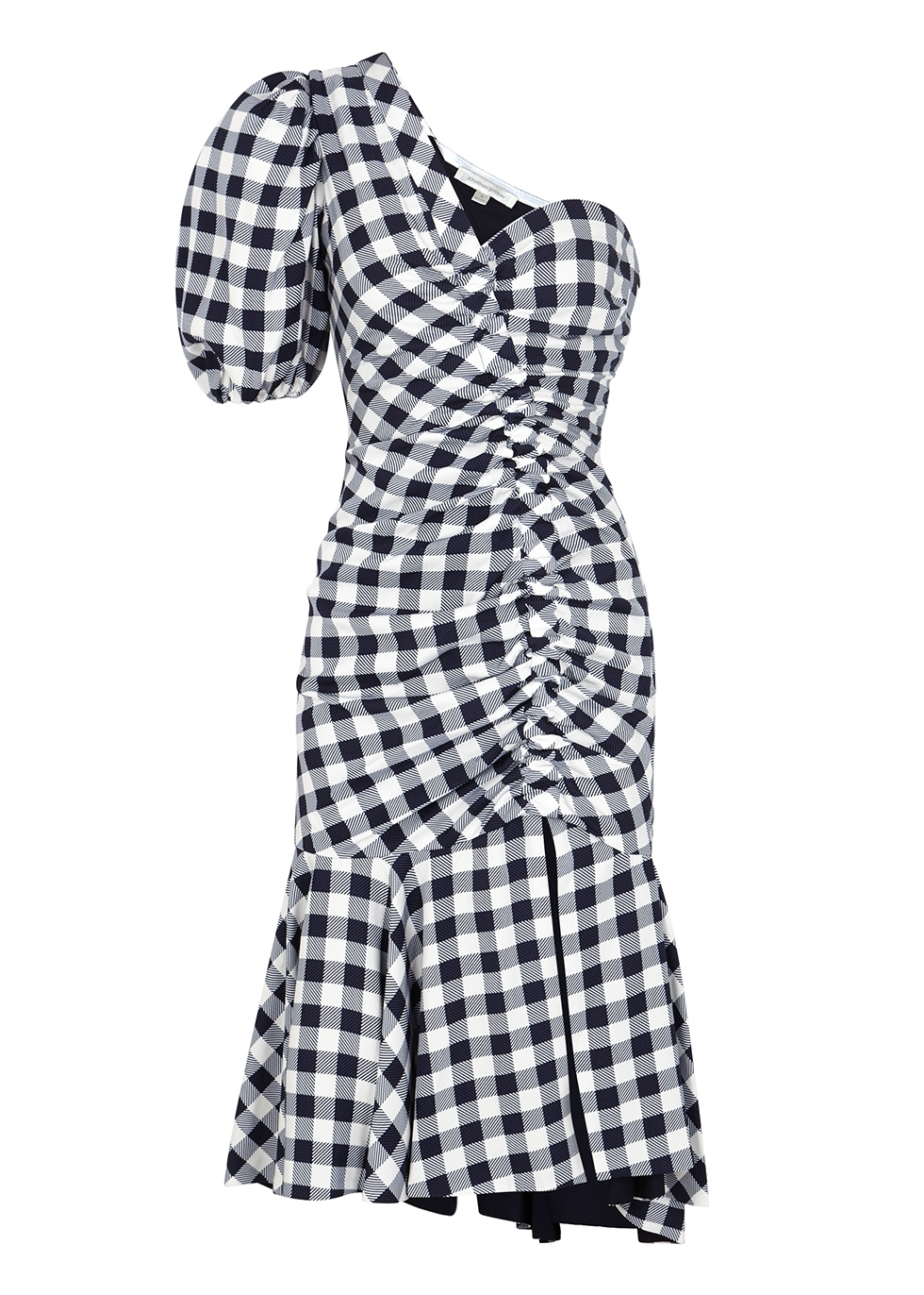 Gingham ruched one-shoulder dress - Jonathan Simkhai