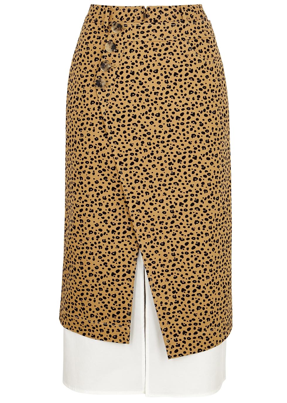 Steffi leopard-print denim wrap skirt - Rejina Pyo