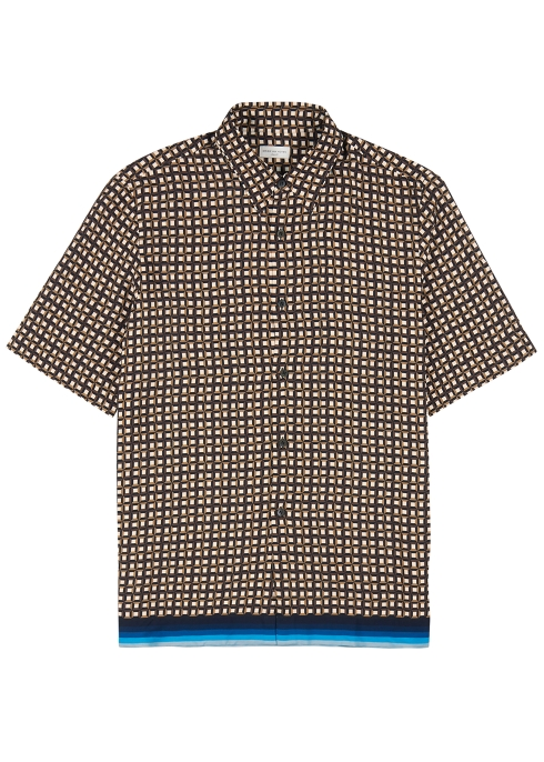 e8337f1eeb Dries Van Noten Clasen brown geometric-print shirt - Harvey Nichols