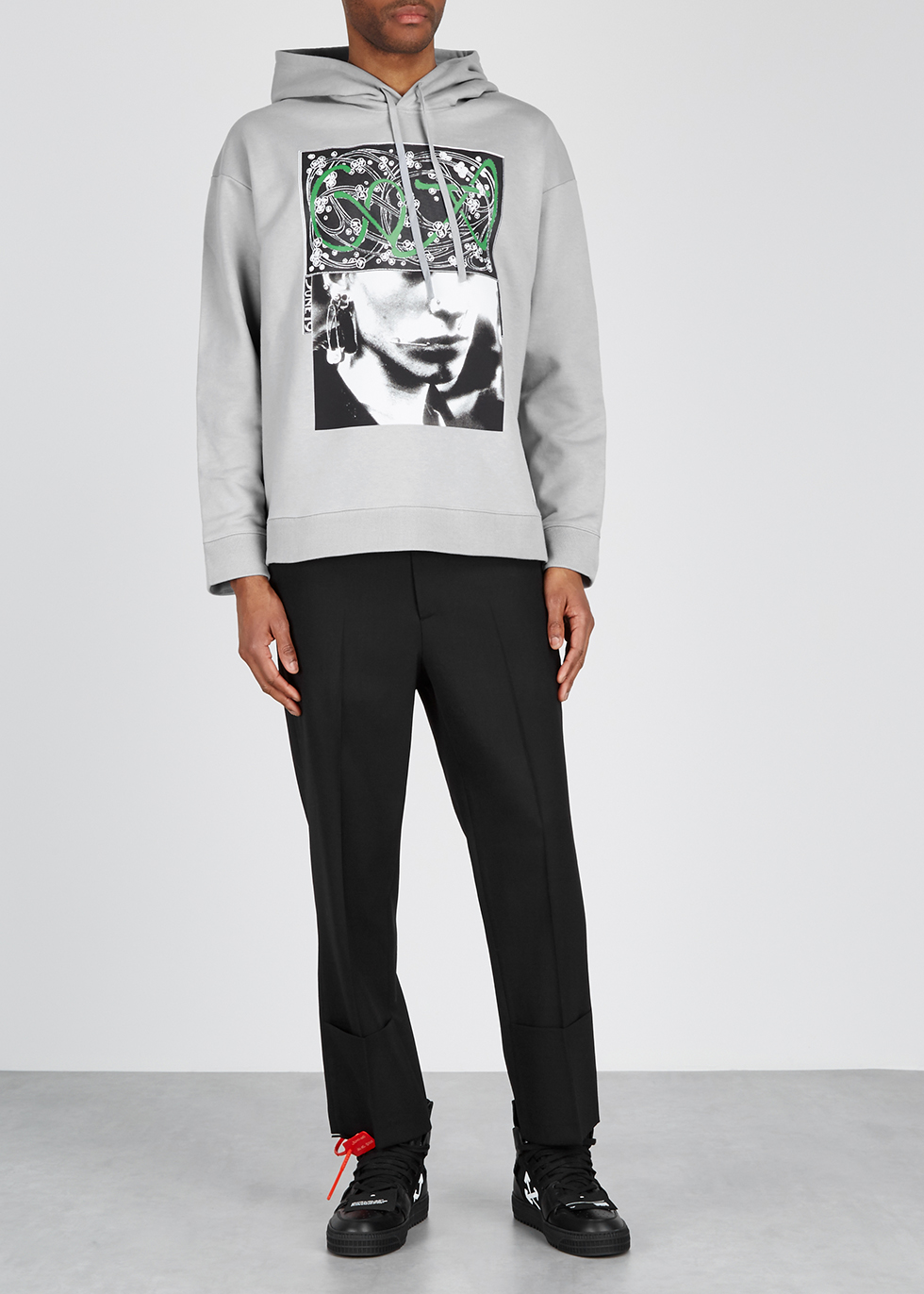 Grey printed cotton sweatshirt - Raf Simons
