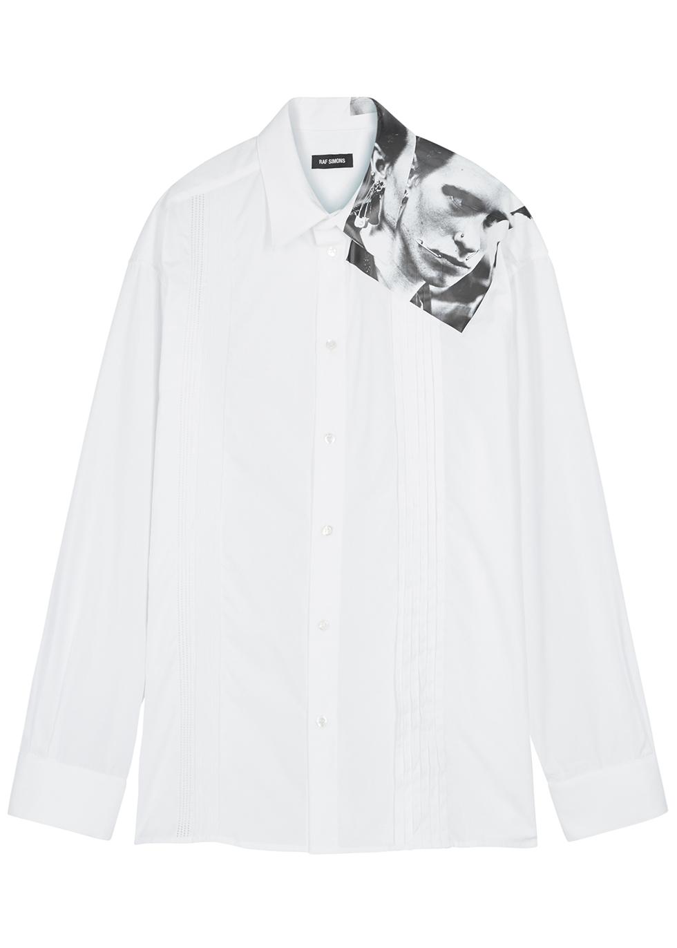 White printed poplin shirt - Raf Simons