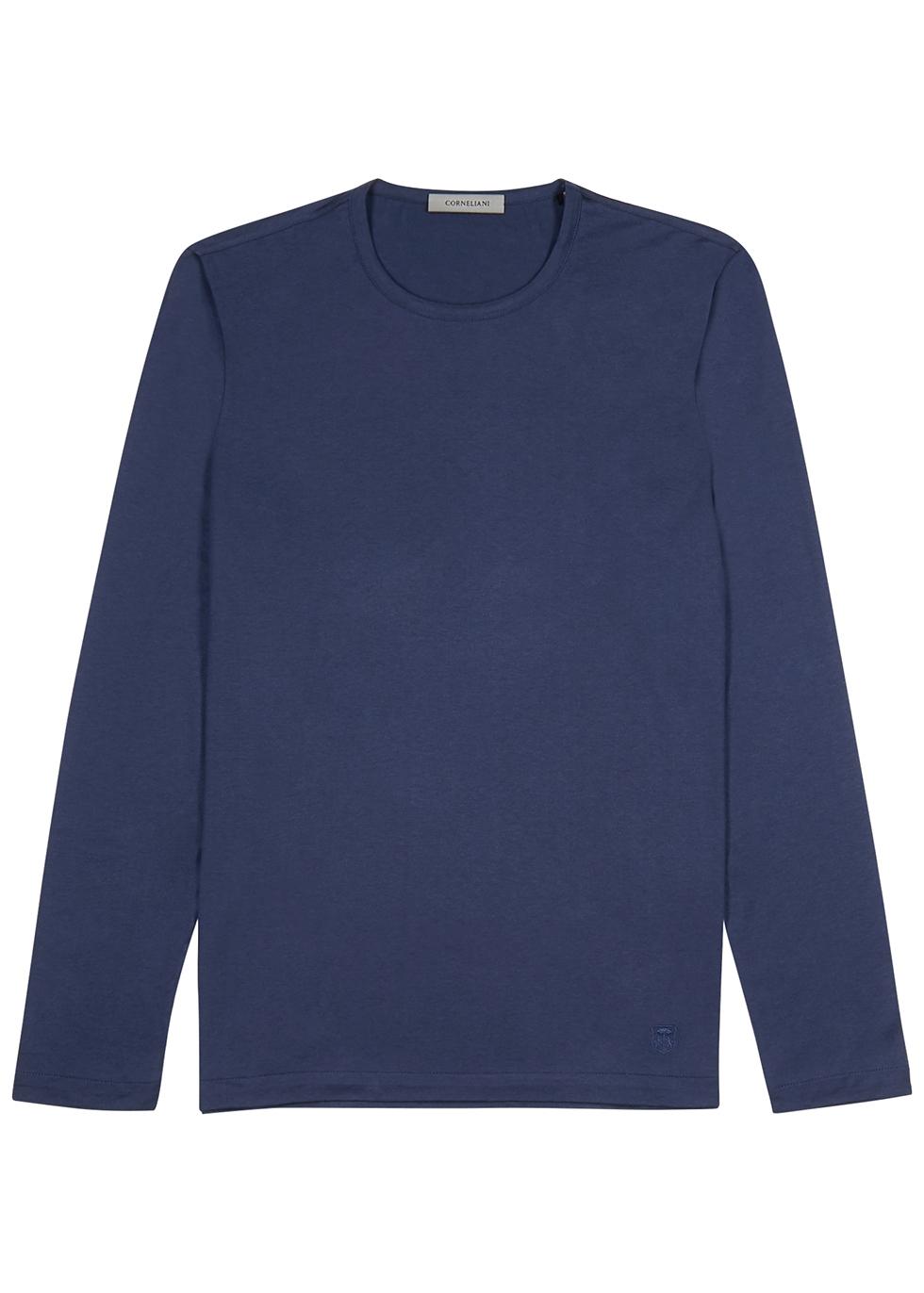 Blue silk jersey top - Corneliani