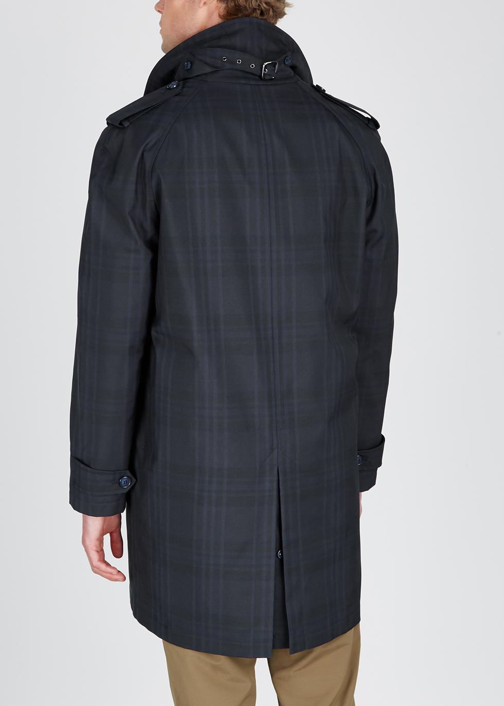 Navy checked gabardine trench coat - Corneliani