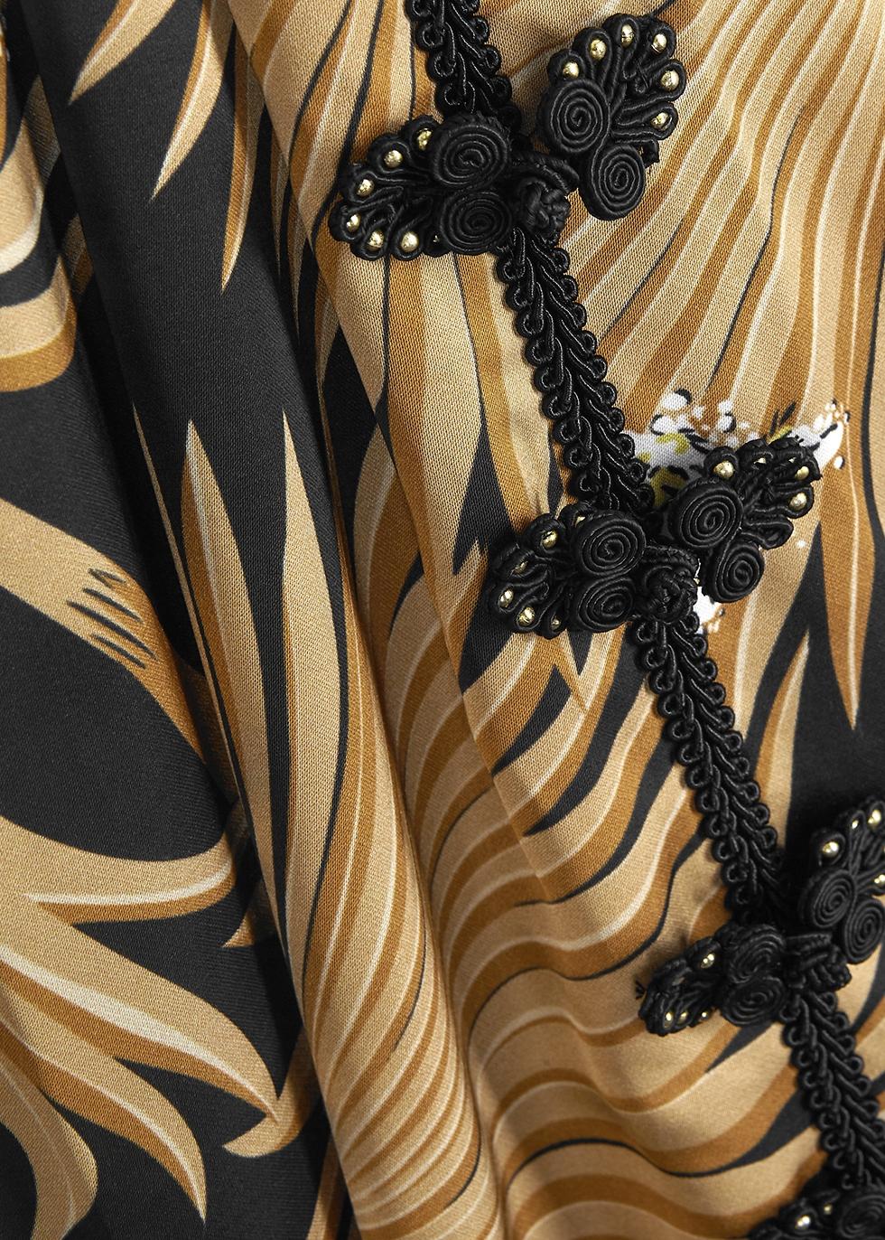Jean palm-print satin midi dress - De La Vali