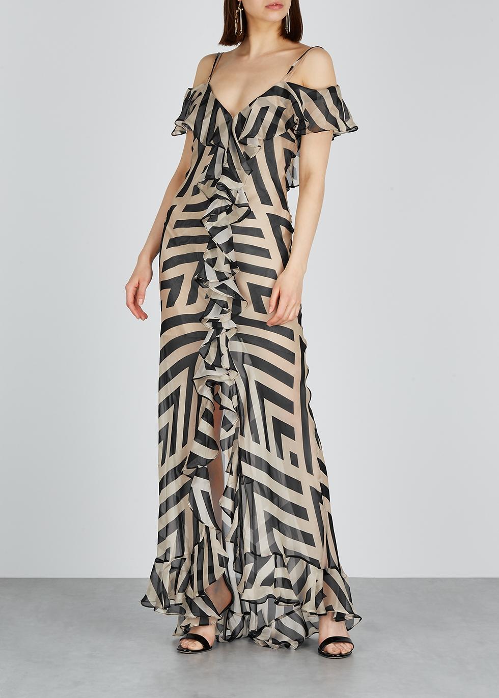 Jolene printed silk maxi dress - De La Vali