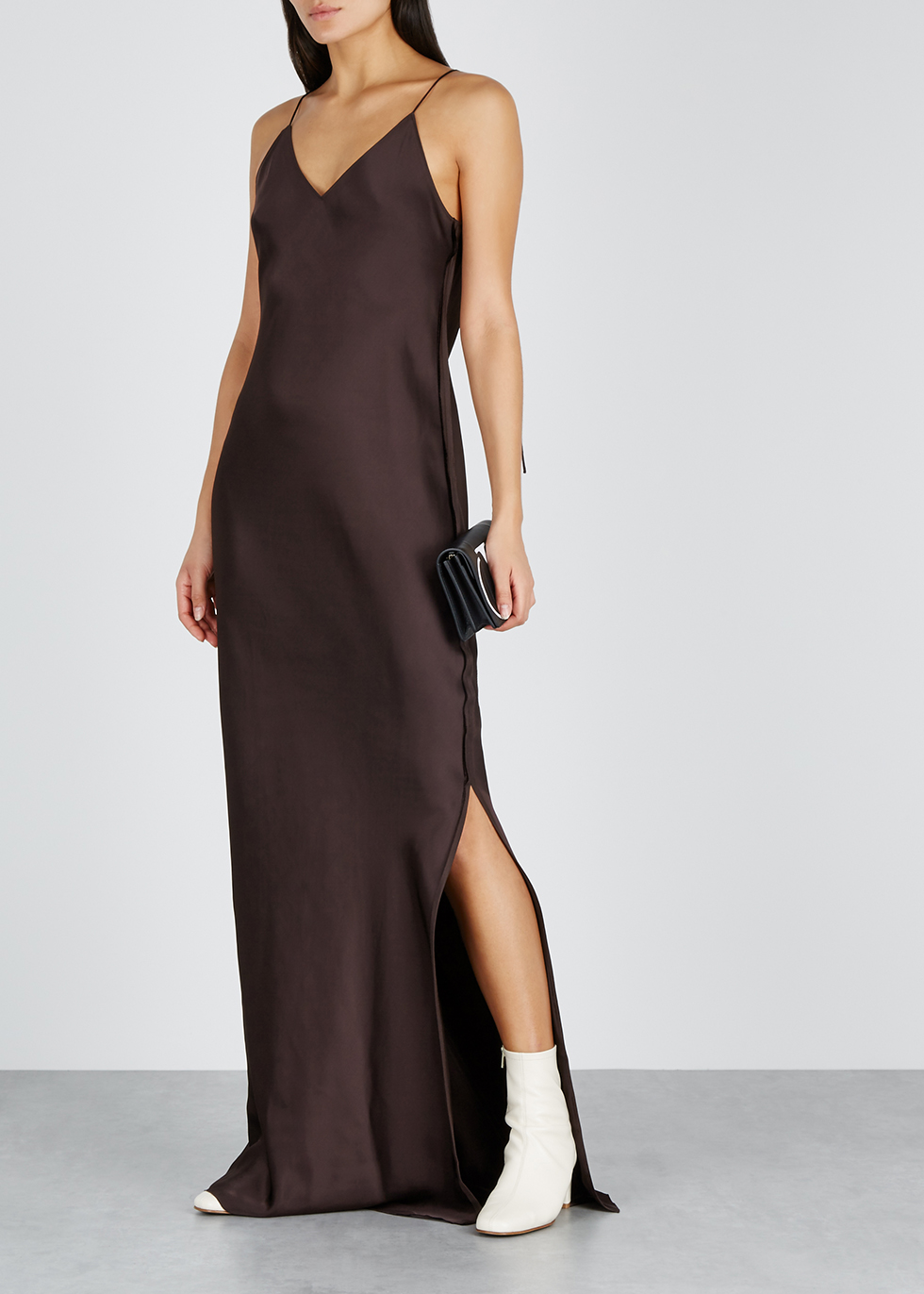 6d20d3717c90 Helmut Lang Dark brown satin maxi slip dress - Harvey Nichols