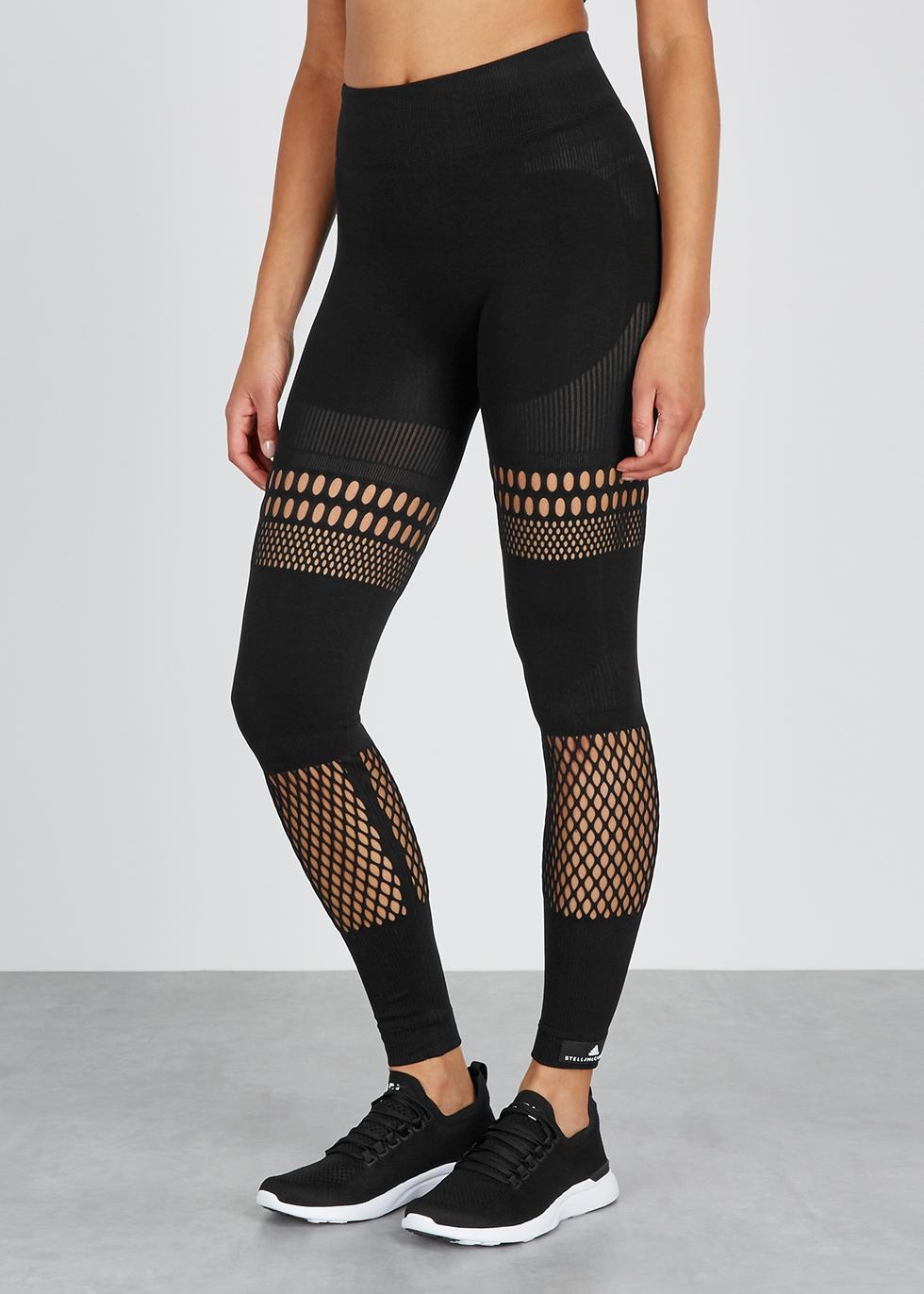 Black laser-cut leggings - adidas X Stella McCartney