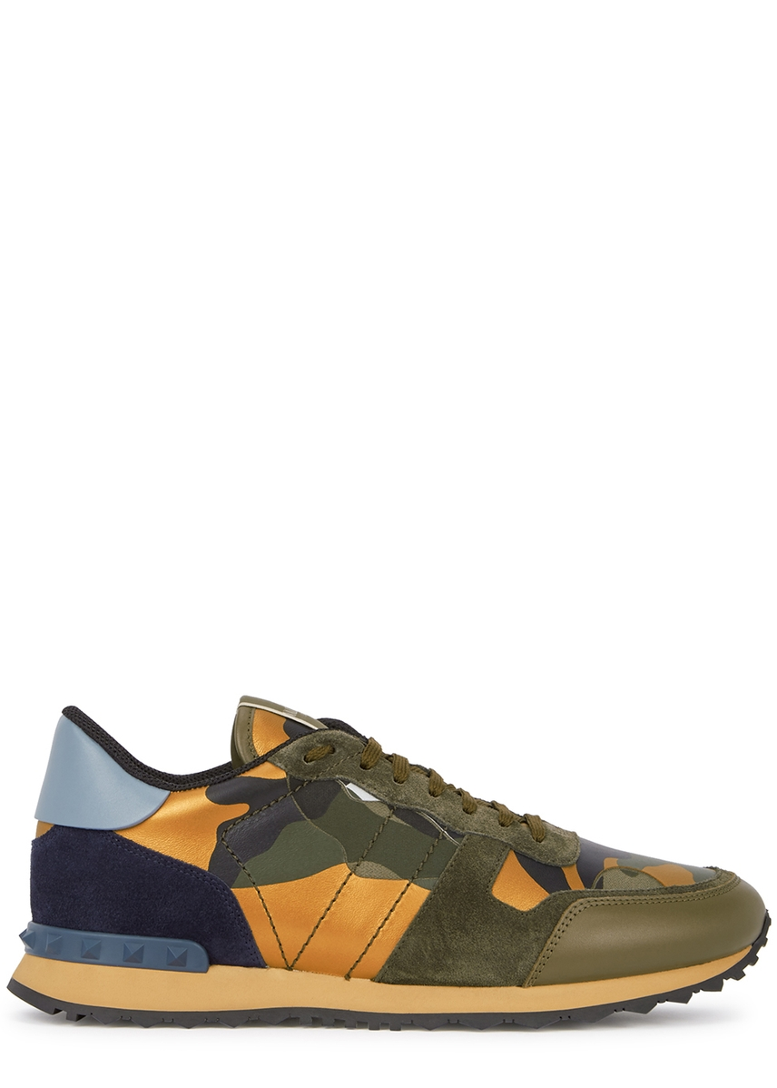 8888abd0f345f4 Runner camouflage-print suede trainers ...