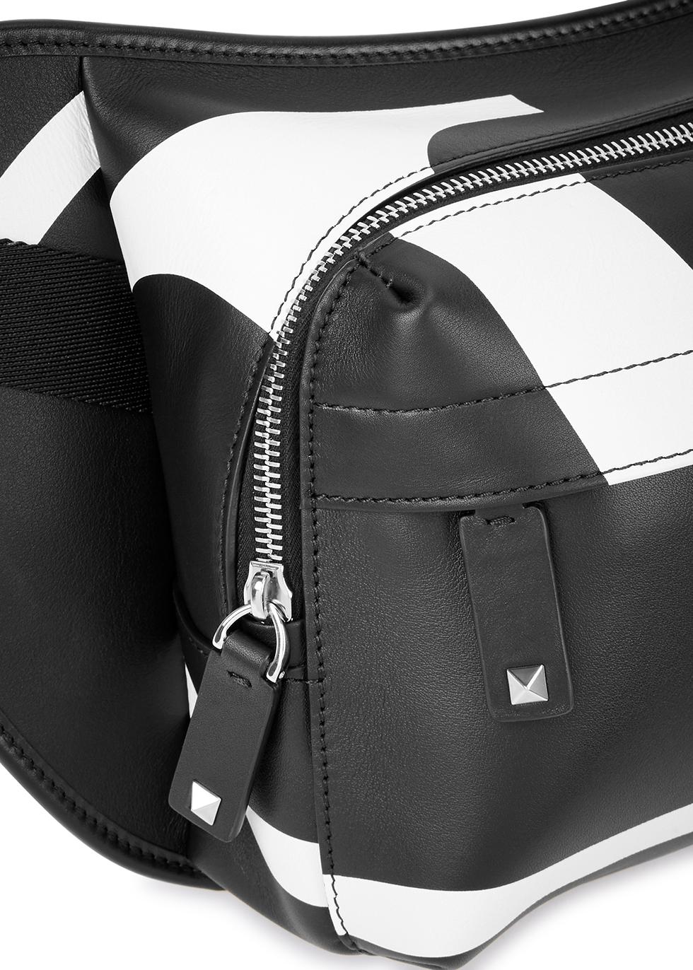 Black logo-print leather belt bag - Valentino Garavani